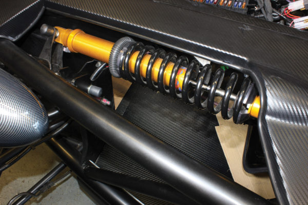 Horizontally mounted, pushrod-operated coilover shocks reduce unsprung weight and keep the components close to the centerline of the car.