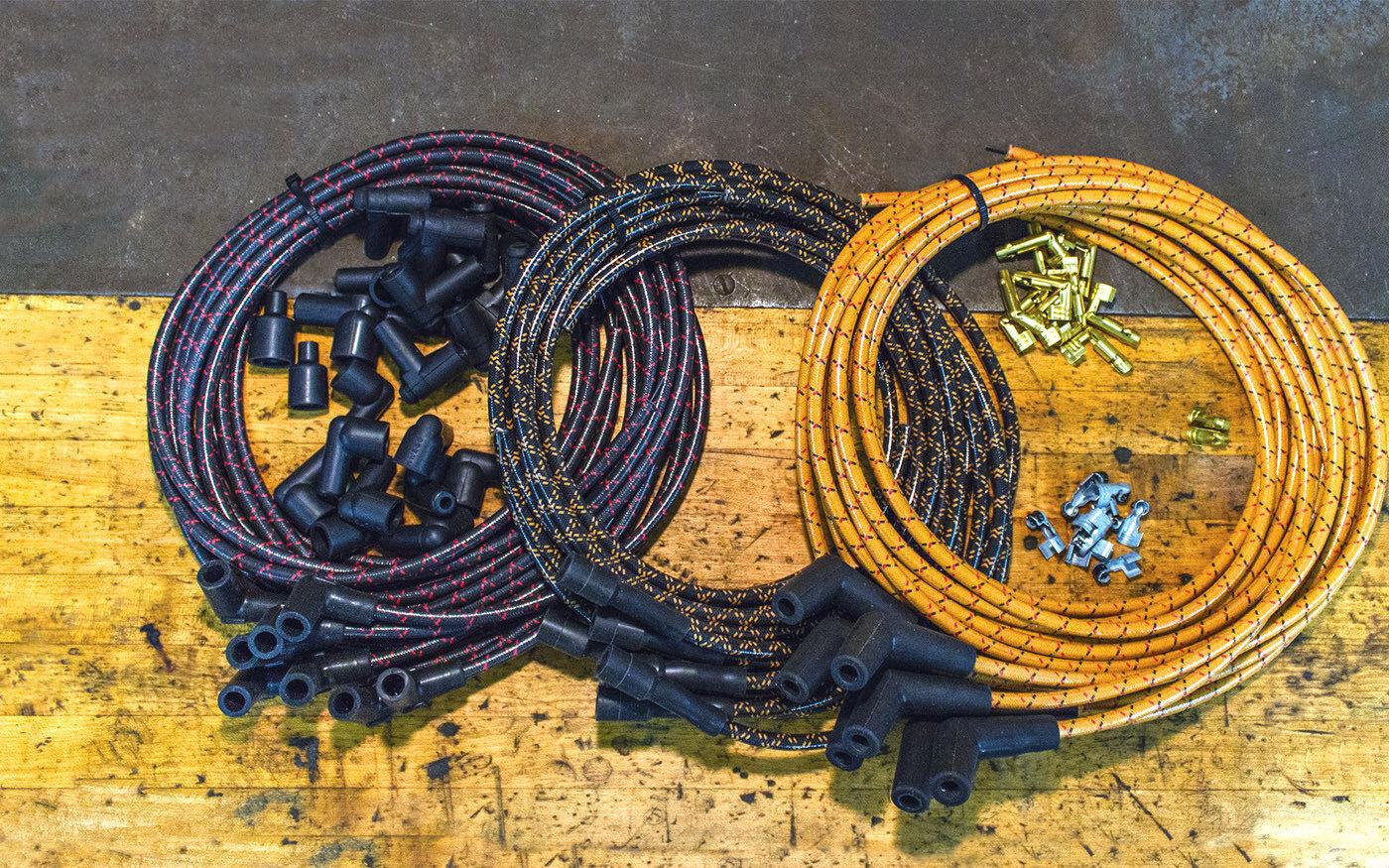 Old- look spark plug wires | ReinCarNation Magazine Vintage Spark Plug Wires on harley plug wires, vintage sportster plug wires, vintage ignition coil, 426 hemi plug wires, vintage spark coil, vintage turn signals, vintage light bulbs, lightning bug plug wires, vintage ignition wires, vintage mirrors, vintage gauges,